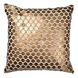 A&B Home T40572 Dashiell Copper Beaded Throw Pillow, Linen, 22 by 22'' Dashiell Copper Beaded Throw Pillow, Linen