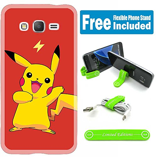 [Ashely Cases] Samsung Galaxy Grand Prime (G530) Cover Case Skin with Flexible Phone Stand - Pokemon Pikachu Red Photo - Pokemon Gaming