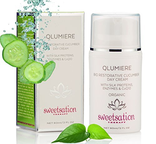 Best Light Anti-Aging, QLumiere Bio-Restorative Cucumber Day Cream, with Silk Proteins, Enzymes & CoQ10, 2oz. For All Skin Types. by Sweetsation Therapy