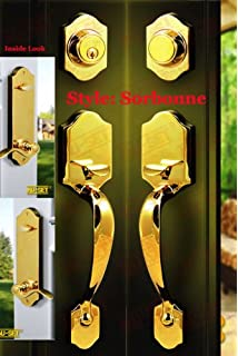Pair Of NuSet Sorbonne HandlesSets For Double Doors, One Entry And One Dummy,  Kwikset