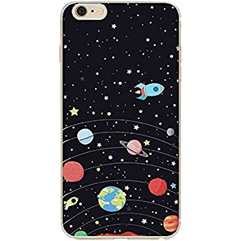pretty nice 43ce9 01aa0 iPhone 6s case,Galaxy Planet Design Slim Flexible Clear Bumper TPU Soft  Cover for iPhone 6 6s 4.7 inch (Spaceship)