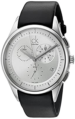 Calvin Klein Men's 'Basic' Swiss Quartz Stainless Steel and Leather Automatic Watch, Color:Black (Model: K2A27138)