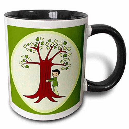 - 3dRose 28486_4 Cute Tree Hugger Design Brown and Green-Two Tone Black Mug 11 oz Multicolored