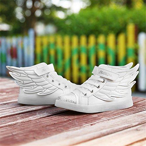 DoGeek Zapatos LED Negras 7 Color USB Carga LED Zapatillas Luces Luminosos Zapatillas LED Deportivos Para Hombres Mujeres (Elegir 1 Tamaño Más Grande) Blanco