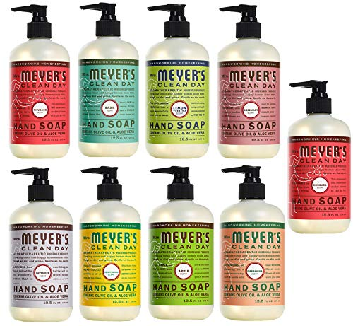 Peaceful Squirrel Variety, Mrs Meyers Clean Day Liquid Hand Soap Variety (Pack of 9) - 12.5 oz Each