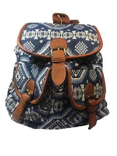 Mochilas Mujer | Bolso Viaje Mujer | Escolares |Shopper | Tamaño Mediano 34 x 38 x 15 (azul rombos)