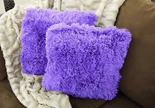 (florance jones Kelly Soft Fur Cushion Square Decorative Solid Shaggy Furry Throw Plush Pillow   Model THRW - 320  )