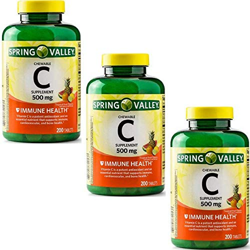 Spring Valley - Vitamin C Multiple Fruit Flavors 500 mg, 200 Chewable Tablets (3 Pack) ()