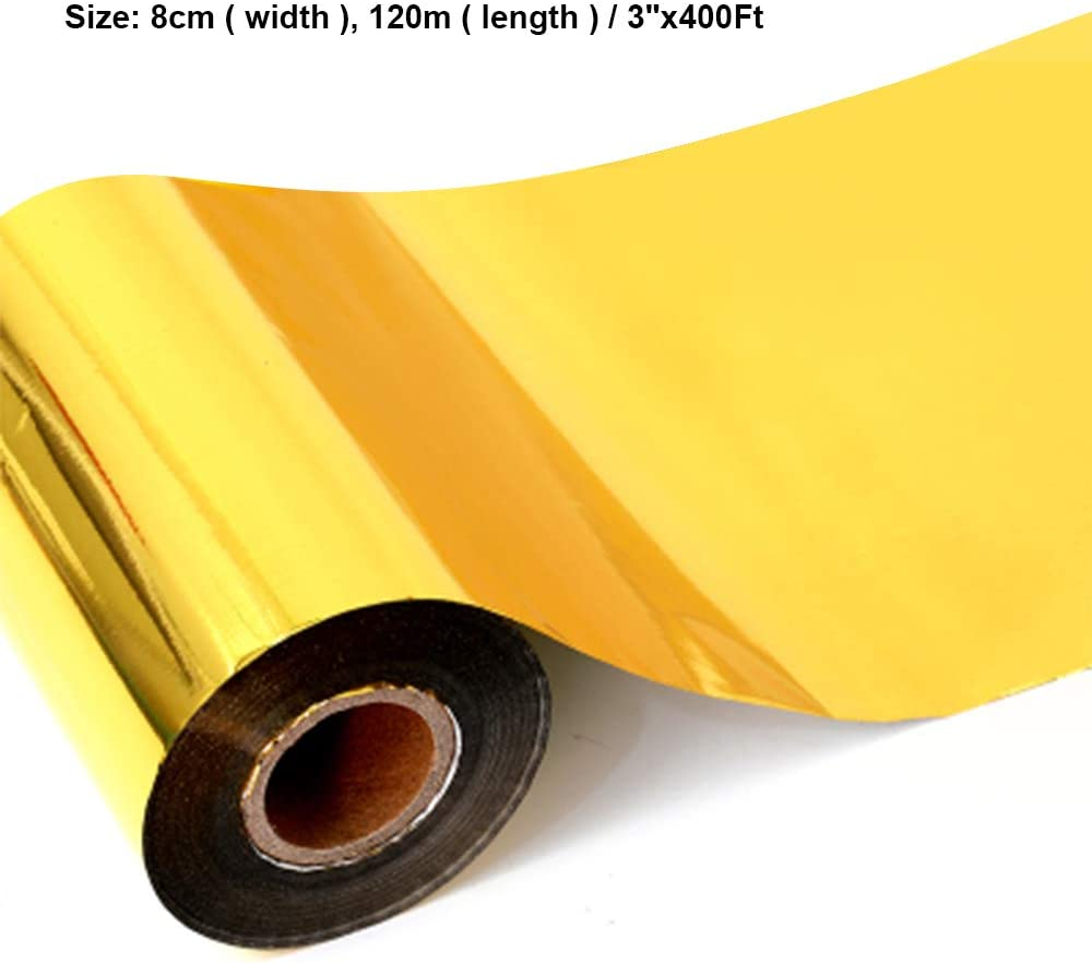 2 Rolls Gold Hot Foil Stamping Paper 1.5 x 400ft PU Heat Transfer Anodized Gilded Paper for Hot Foil Stamping Machine 1.5 inch, Gold + Gold
