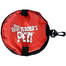 Teacher Peach Travel Dog Bowl, Teacher's Pet Small Collapsible Water Dish, Red