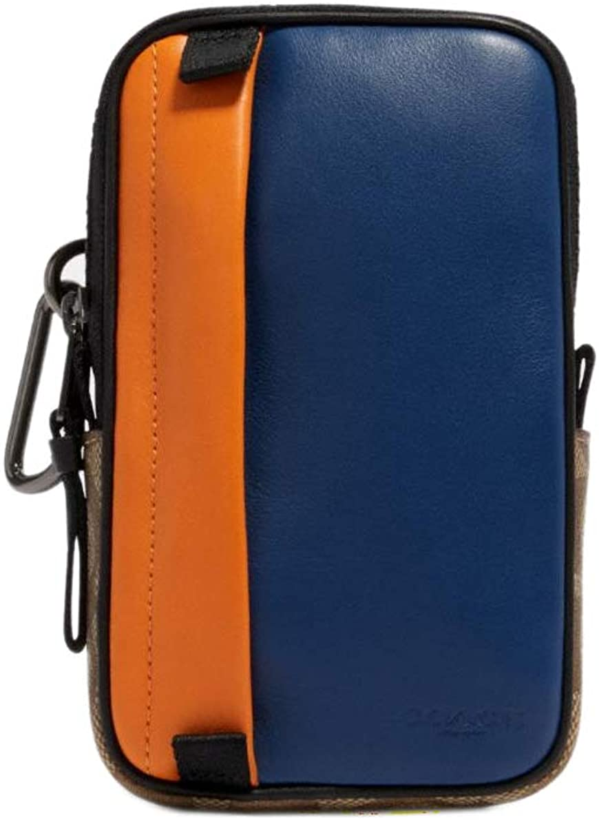 Blue and tan pouch