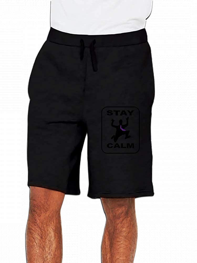 Stay Calm Featuring Office Worker Running Around in Panic Mens Casual Shorts Pants