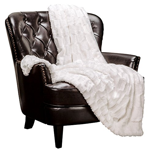 Chanasya Super Soft Fuzzy Faux Fur Elegant Rectangular Embossed Throw Blanket | Fluffy Plush Sherpa Cozy Microfiber Off White Blanket for Bed Couch Living Room Fall Winter Spring (50x65) - White (White Blankets)