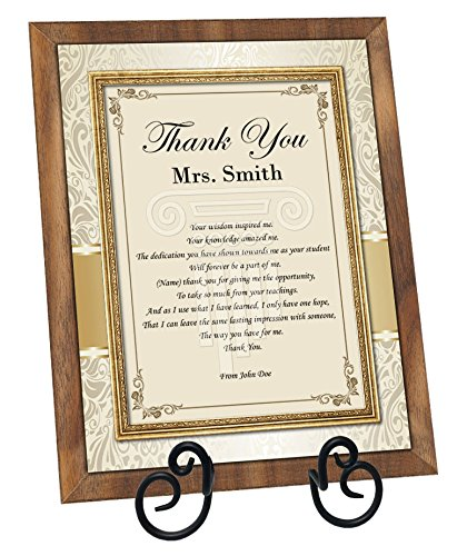 Thank You Teacher Educator Mentor Professor Walnut Poetry Plaque with Easel Appreciation Poem Present Preschool (Regular - Poem Plaque Personalized