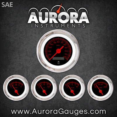 Aurora Instruments 1151 Competition Black SAE 5-Gauge Set Red Text, Red Vintage Needles, Chrome Trim Rings, Style Kit Installed