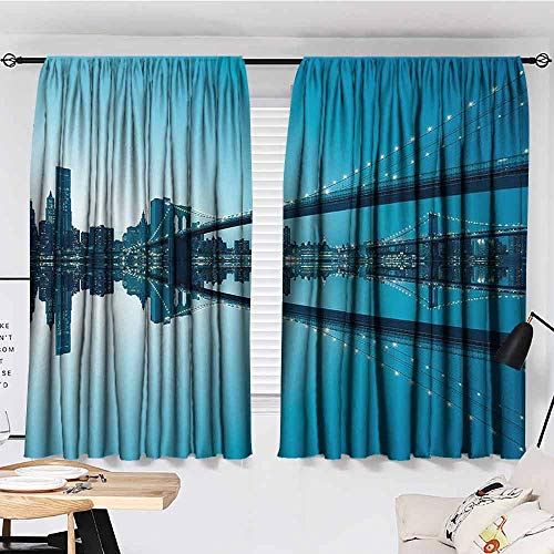 PCNBDJC Hotel Curtain Apartment Decor Breathable W63 x L45 New York City Manhattan Skyline Panorama Monochrome Picture Modern Home Artwork Blue White (Apartments In New York City Manhattan For Sale)