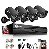 XVIM 8 Channel Home Security System 1080N DVR Recorder with 1TB Hard Drive w/4 1.0-Megapixel Outdoor IP66 Bullet CCTV Surveillance Cameras