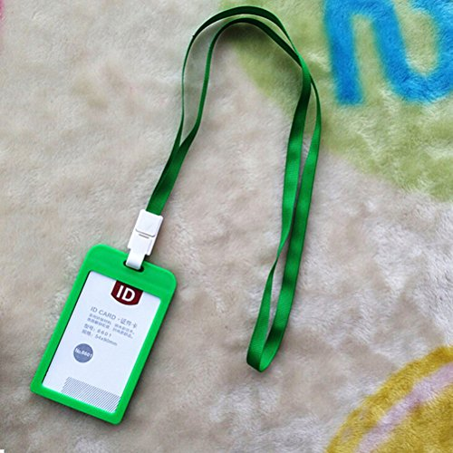CosCosX Vertical Transverse Clear Plastic ID Name Card Holder Work Credit Card Leather Lanyards and Badge Holders for Police/Employee/White collar etc