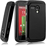 MOTO G case,EC™ Shock Absorbing Dual Layer Hybrid Case, Heavy Duty Protective Armor Case Cover for Motorola Moto G with Screen Protector and Stylus Pen (Black)