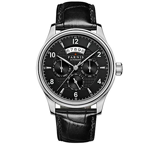 Sapphire Parnis 42mm Black Dial Moonphase Power Reserve 26 Jewels Miyota 9120 Automatic Movement Men's Watch