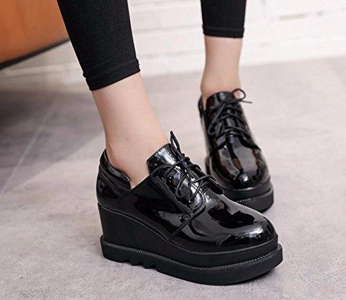 Mujer Inglaterra Aumento Invierno Cabeza Zapatos Los Bizcocho De 37 negro Zapata Pintó El Correa Redonda Impermeable Sujeción Cuero Nueva Otoño Única La Y 7cm Khskx Bwg6qnE