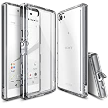 Xperia Z5 Compact Case, Ringke FUSION [SMOKE BLACK]** Shock Absorption TPU Bumper Drop Protection **[FREE HD Screen Protector] Premium Crystal Clear Hard Back [Anti-Static][Scratch Resistant] for Sony Xperia Z5 Compact