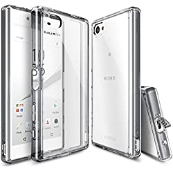 Xperia Z5 Compact Case, Ringke [Fusion] Crystal Clear PC Back TPU Bumper w/ Screen Protector [Drop Protection/Shock Absorption Technology][Attached Dust Cap] For Sony Xperia Z5 Compact - Smoke Black