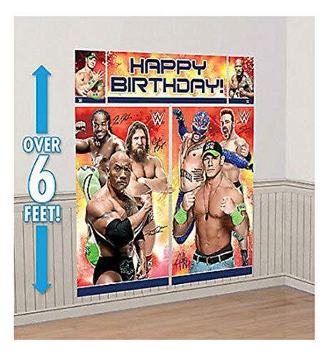 WWE Scene Setter HAPPY BIRTHDAY party wall decor kit over 6' WRESTLING Cena Rock -