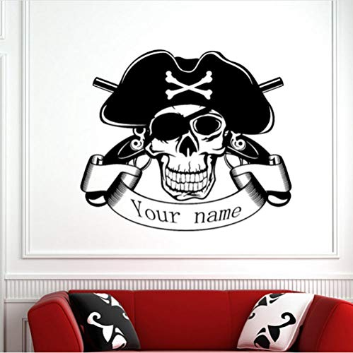 Wall Sticker Skull Halloween Pirate Pistol Sticker Decal Devil Poster Name Car Window Art Wall Decals 58x67cm]()