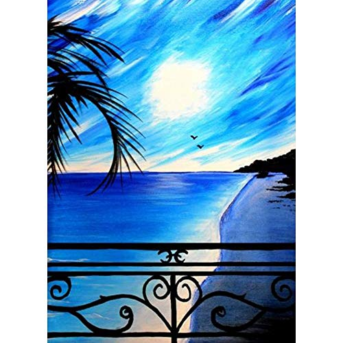DIY Diamond Painting Kit,Diamond Painting Full Drill Embroidery Paintings Pictures for Home Wall Decor Blue Sea Sunrise 11.8x15.7in 1 Pack by SimingD
