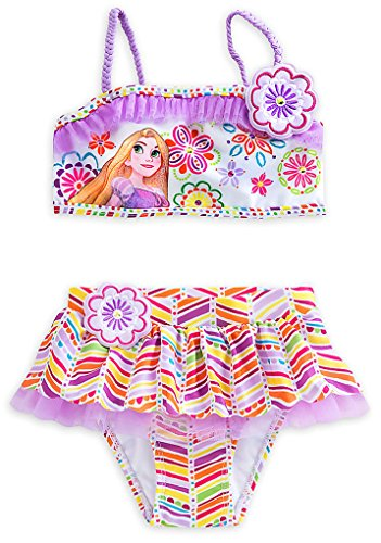 Price comparison product image Disney Store Little Girls' Rapunzel Glitter Accents Deluxe Swimsuit - 2-Piece, Size 5/6