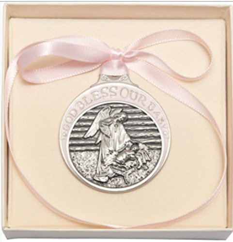 (Beautiful Girl's Pewter Baby in Manger Crib Medal with Pink Ribbon Gift Boxed)