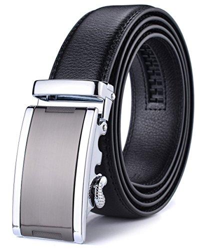 XHtang Men's Adjustable Leather Ratchet Belt 115cm (Belt Leather Detailed)