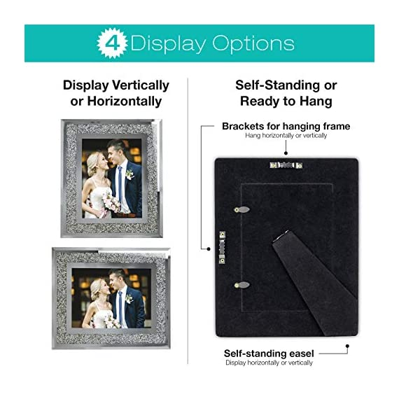 """Decorative Picture Frame 8""""x10"""" Photo Holder Glass Mirror with Sparkling Crystal Boarder. Use Standing with Included Easel or Ready to Hang. - MODERN DESIGN - Modern real glass picture frame with sparkling crystal border that perfectly fits any decor. The frame can hold a 8x10 inch photo. EASY TO DISPLAY - With the pre-installed brackets and standing easel, ready to mount on the wall or to display on the desktop. The frame can hold a 5x7 inch photo, A lovely picture frame to decorate a wall, Vertically and Horizontally. UNIQUE PHOTO FRAME - Perfect for your home, office, studio or gallery. Not only a great addition to any room, but also a perfect gift to anyone. - picture-frames, bedroom-decor, bedroom - 51yz8SujGlL. SS570  -"""