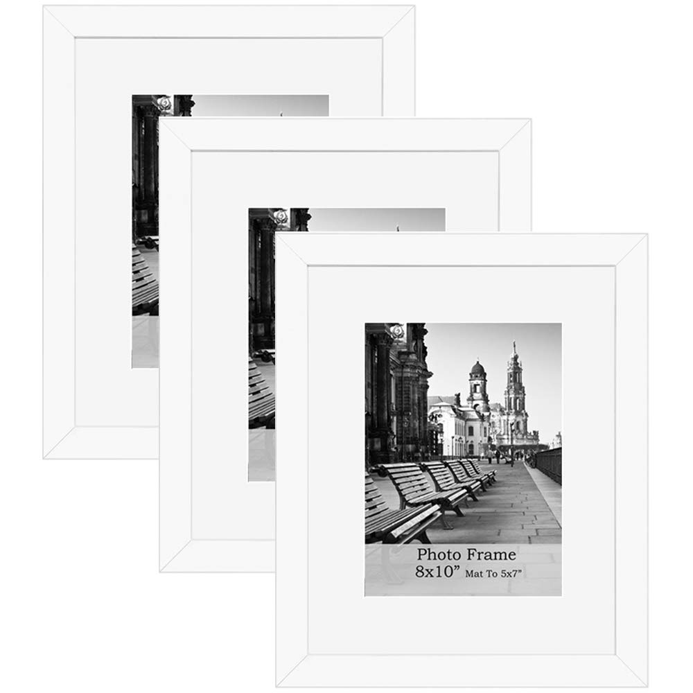 meetart 8x10inch White Photo Frames mat to 5x7inch, Pack of 3 Piece, in Plastic Glass, MDF Wood Material Easel for Table Top Stand and Wall Hanger Vertical and Horizontal. by meetart