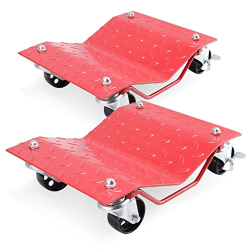 GHP 2-Pcs Red 1500-Lbs Capacity Steel Car Wheel Dollies with 3'' Casters & Lock by Globe House Products