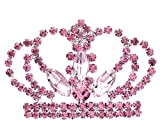 SoulBreezeCollection Princess Crown Tiara Brooch Pin Wedding Bridesmaid Rhinestones Jewelry (Pink)