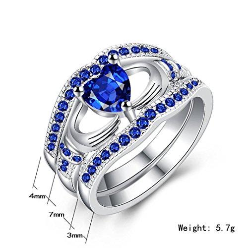 Titanium Home Headphone (SANNYSIS Women Three Layers Diamonds Blue Crystal Diamond Cylindrical Rings (9))