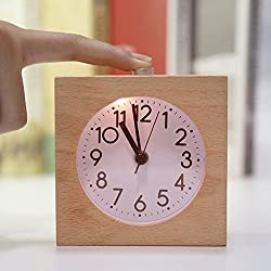 Classic Handmade Portable Simple Square Wooden Silent Table Snooze Alarm Clock with Nightlight