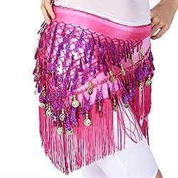 Belly Dancing Belt In Dark Pink With Sequins