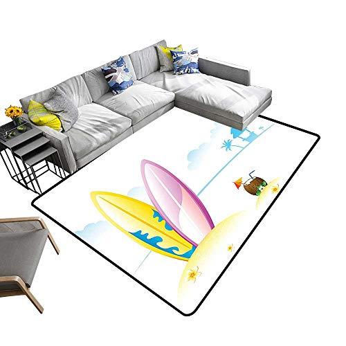 alsohome Non Slip Absorbent Carpet Surf Board Tender COC ut Sea Beac Bungalow Horiz Seascape Image Blue No Chemical Odor 24 x 40 inch