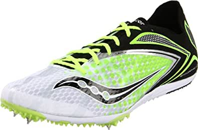 Saucony Men's Endorphin Spike LD3 Track Shoe,White/Black/Citron,7 M US