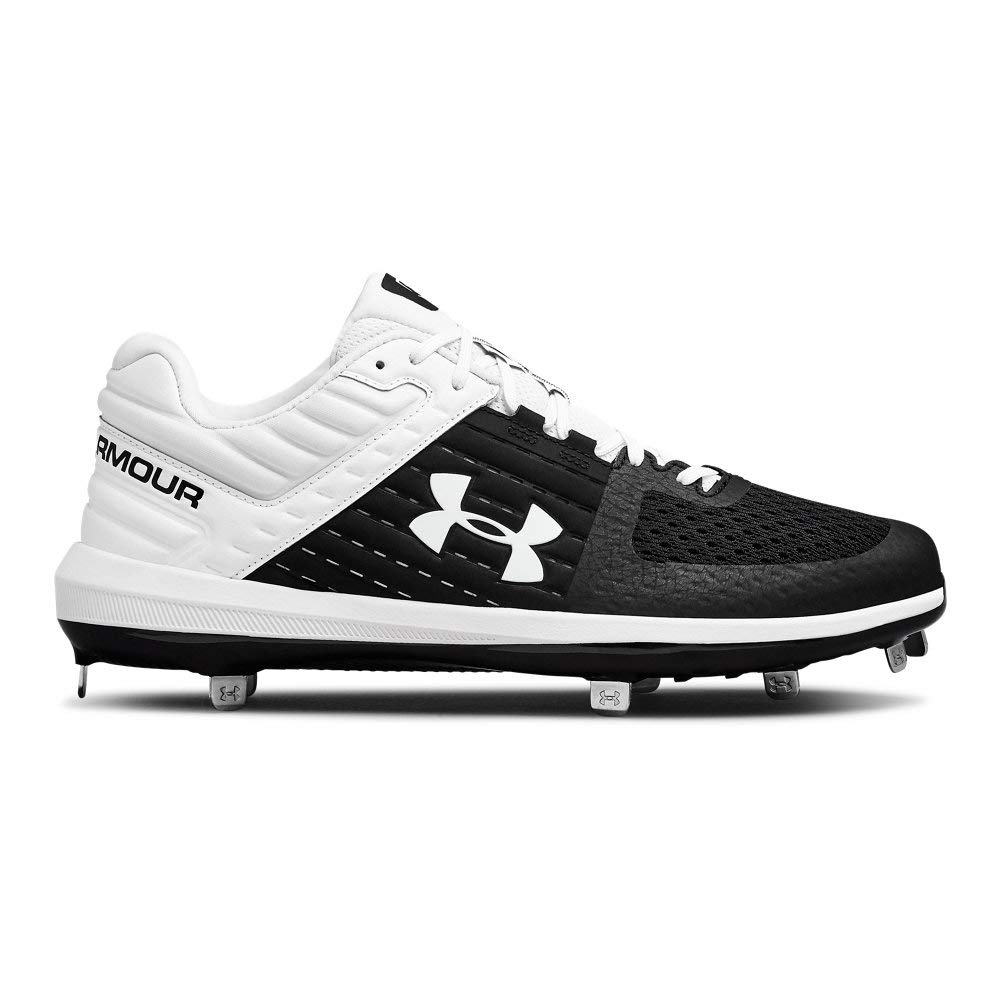 Under Armour Men's Yard Low ST Baseball Shoe, Black (001)/White, 10.5 by Under Armour
