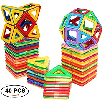 Magnetic Tiles Building blocks Toys by DreambuilderToy (40 PCS)