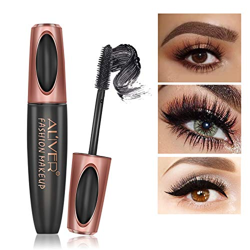 4D Silk Fiber Eyelash Mascara, Extra Long Lash Mascara, Natural Thick Waterproof Thickening and Lengthening Mascara, Long Lasting Charming Eye Makeup (Straight brush)