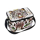 Best King Baby Hiking Carriers - LORVIES Watercolor King Leopard Insulated Lunch Box Bag Review