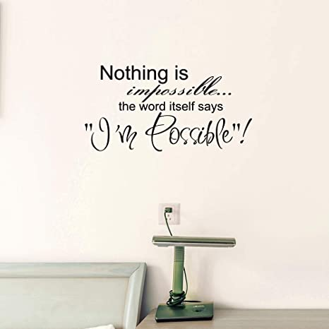 Nothing Is Impossible Wall Decals Inspirational Art Decal Stickers For Living Room I M Possible Bedroom Home Decor Office Motivational Quotes Family Window Letters Tile Peel And Stick Removable Kitchen Dining