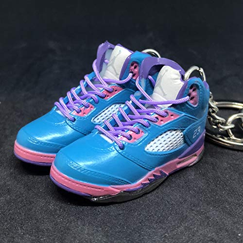 (Pair Air Jordan V 5 Retro South Beach Pink Teal OG Sneakers Shoes 3D Keychain 1:6 Figure)