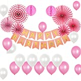 Pink Birthday Party Decorations, SMALUCK Happy Birthdays Banner Garland, 6Pcs Fiesta Paper Fans, 2Pcs Pink Honeycomb Balls and 20pcs Latex Party Balloons, Party Supplies for 1st Birthday Girl Decorations Bridal Shower Baby Shower