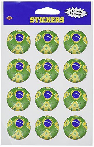 Beistle 54050-Bra Stickers Brasil, Pack Of 12 54050-BRA